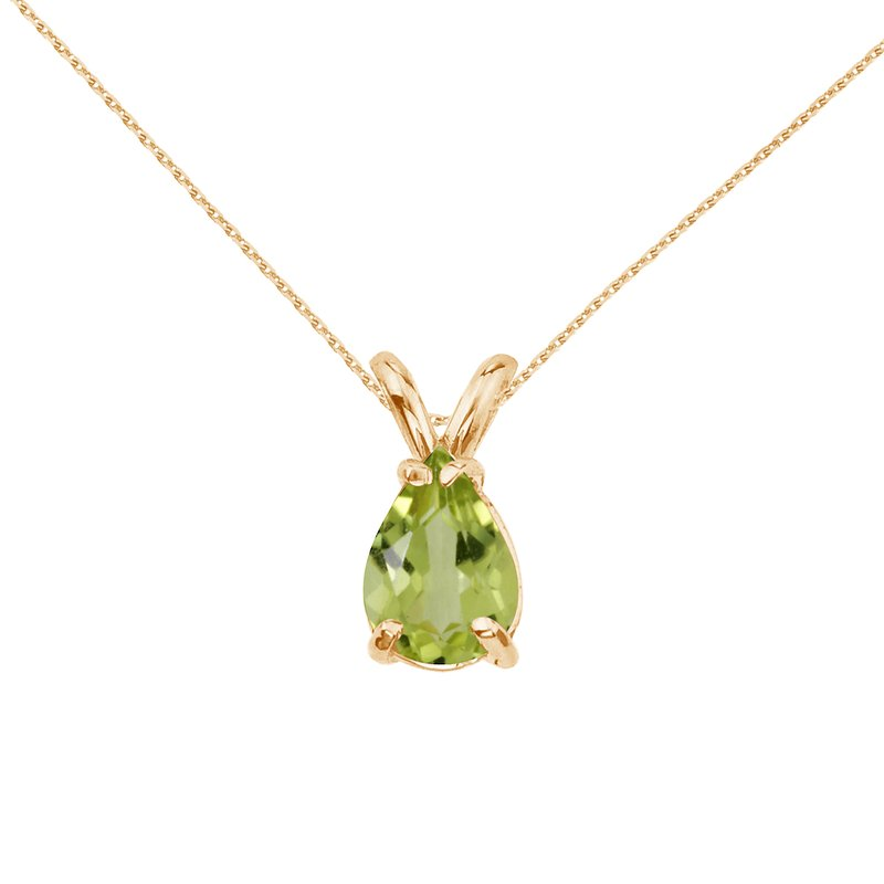 Color Merchants 14k Yellow Gold Pear Shaped Peridot  Pendant