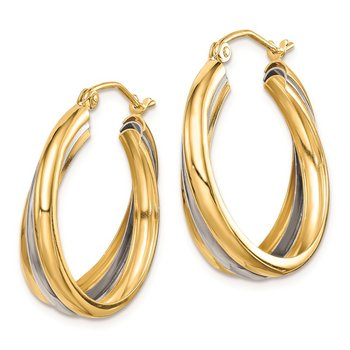 Sterling Silver RH-plated Vermeil Triple Hoop Earrings