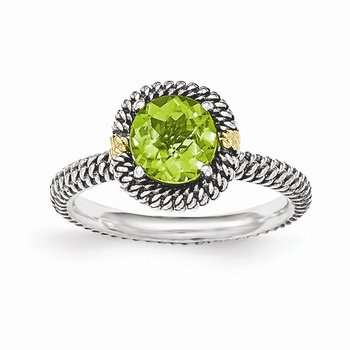 Sterling Silver w/14k Round Peridot Ring