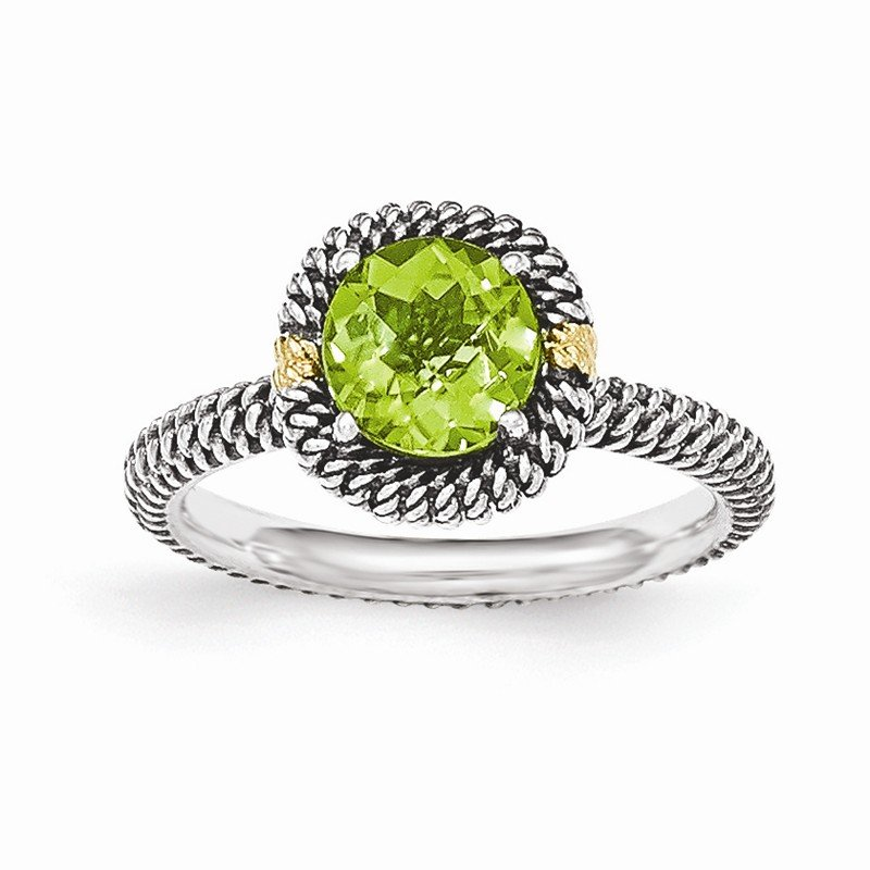 Shey Couture Sterling Silver w/14k Round Peridot Ring