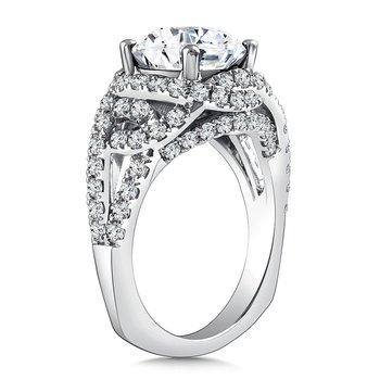 Diamond Engagement Ring Mounting in 14K White Gold with Platinum Head (1.04 ct. tw.)