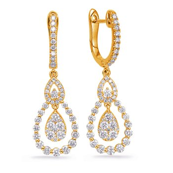 Yellow Gold Diamond Fashion Earring