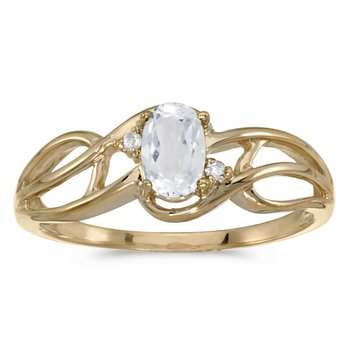 10k Yellow Gold Oval White Topaz And Diamond Curve Ring