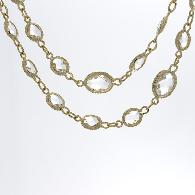 William Levine OVAL MILGRAIN BEZEL SET TOPAZ NECKLACE