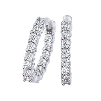 Petite Inside Outside Diamond Hoop Earrings