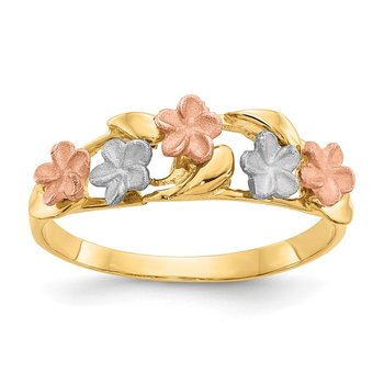 14k Tri-color Plumeria Ring