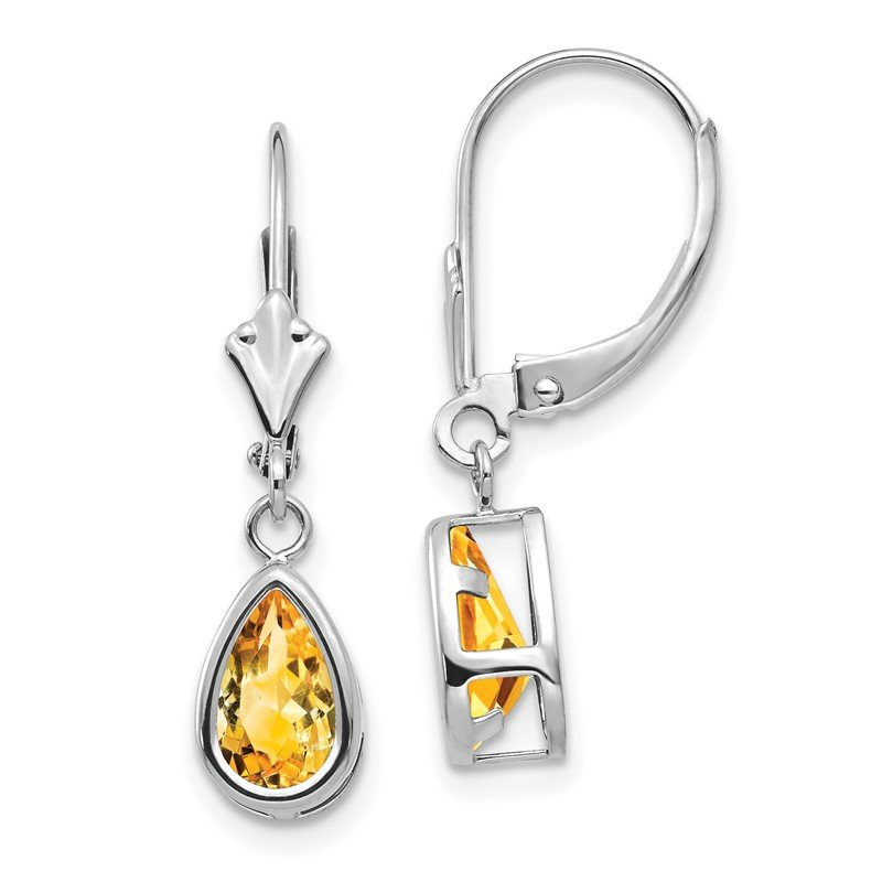 14k White Gold 8x5mm Pear Citrine Leverback Earrings