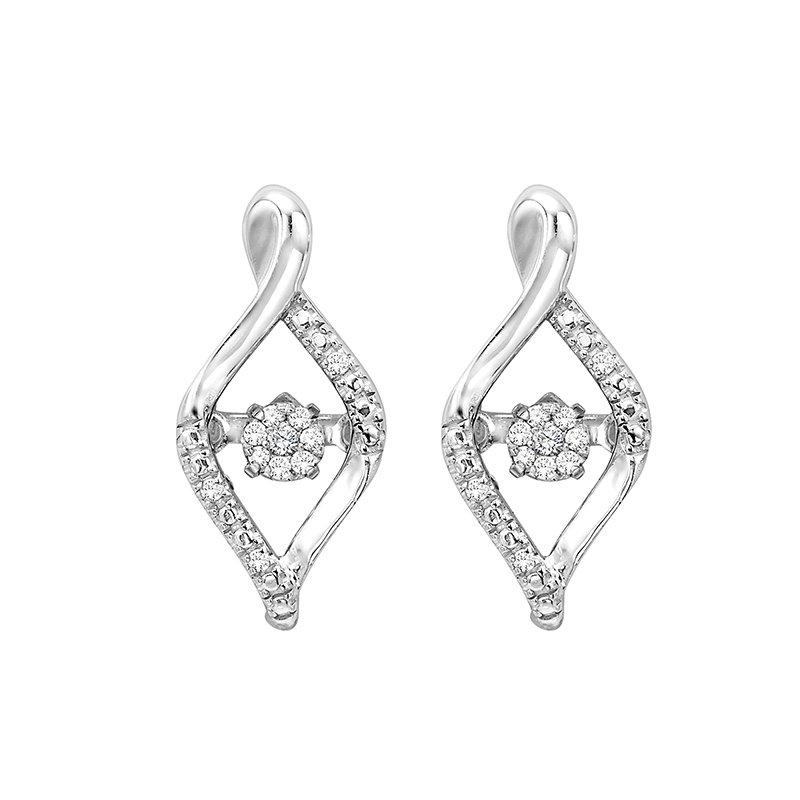 Gems One Diamond ROL Rhythm of Love Modern Infinity Cluster Earrings in Sterling Silver