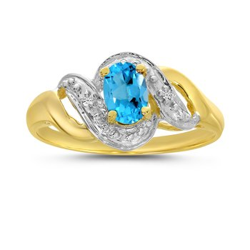 14k Yellow Gold Oval Blue Topaz And Diamond Swirl Ring