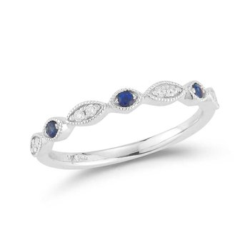 14K band featuring 8 diamonds 0.08ct & 3 blue sapphires 0.087ct