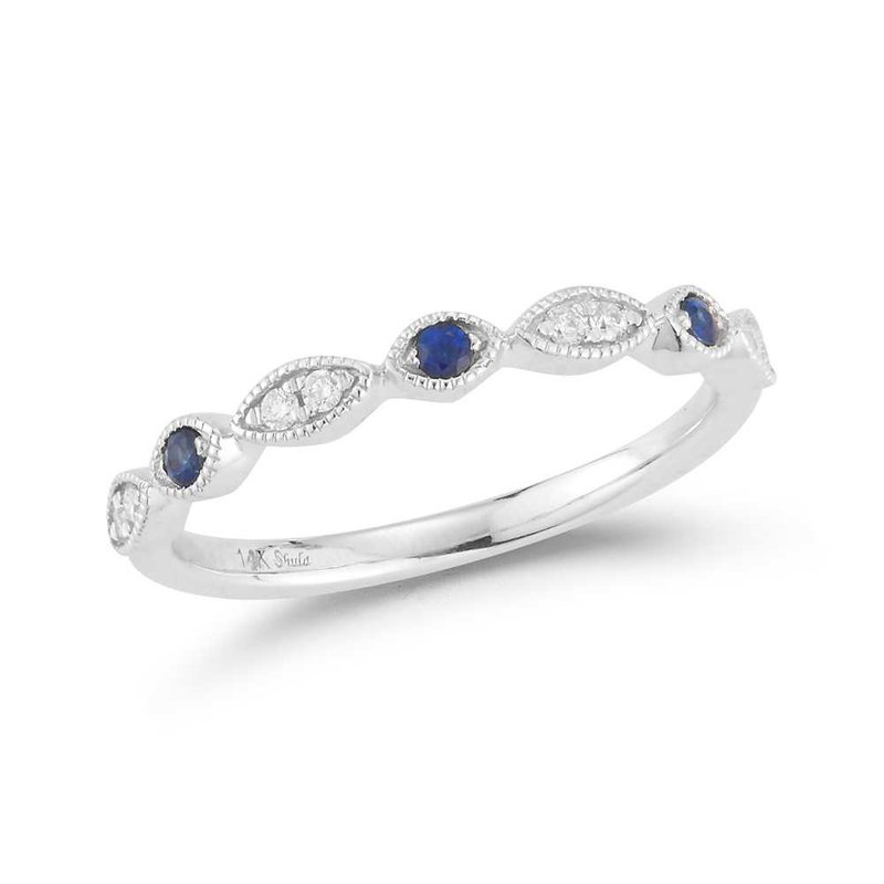 Shula NY 14K band featuring 8 diamonds 0.08ct & 3 blue sapphires 0.087ct