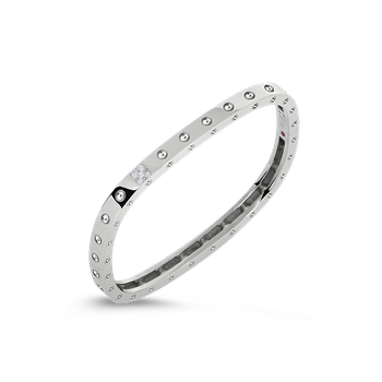1 Row Square Bangle With Diamonds &Ndash; 18K White Gold, P