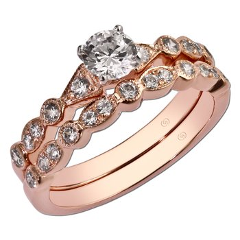 14kt Rose Vintage Diamond Engagement Ring