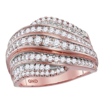 14kt Rose Gold Womens Round Diamond Contoured Stripe Fashion Band Ring 1 Cttw