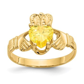 14k November CZ Birthstone Claddagh Ring