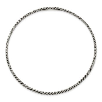 Sterling Silver Antiqued 3.5mm Twisted Weave Slip-on Bangle