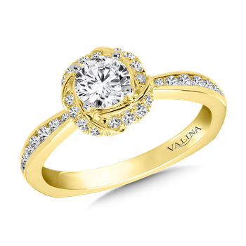 Halo Engagement Ring Mounting in 14K Yellow Gold (.29 ct. tw.)