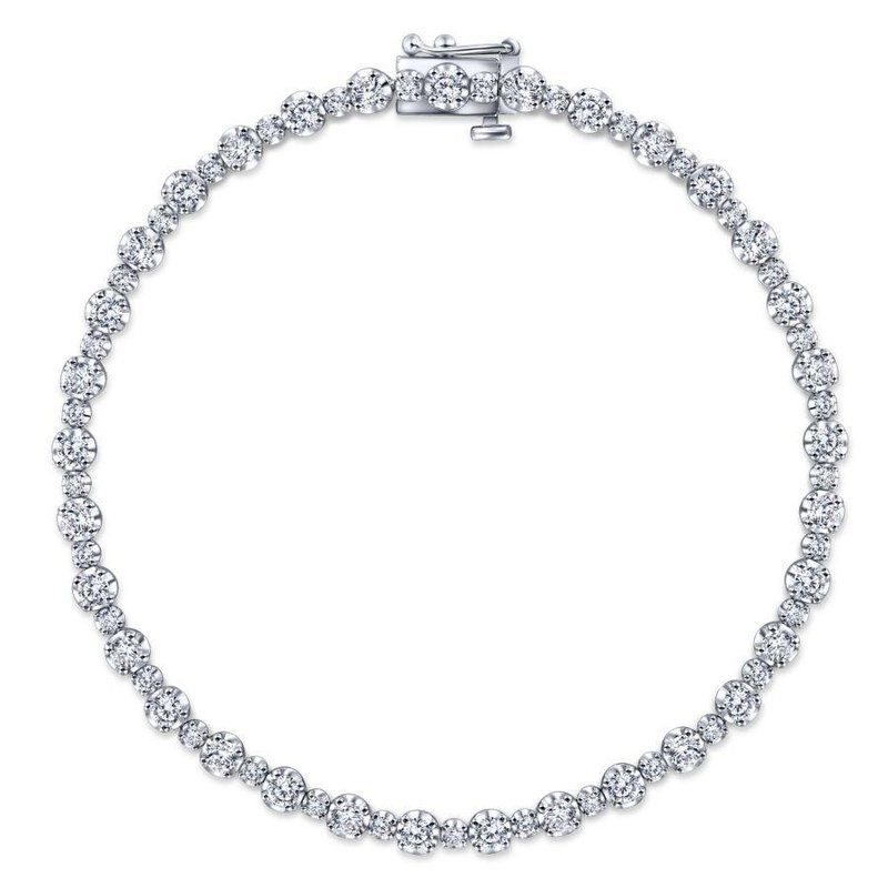 Gabriel Fashion 14K White Gold Buttercup Set Diamond Tennis Bracelet