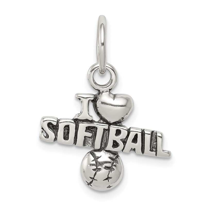 Quality Gold Sterling Silver Antique I (heart) Softball Charm