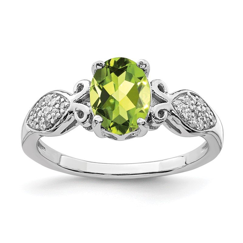 Quality Gold Sterling Silver Rhod-plated Polished Peridot and White CZ Ring