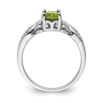 Sterling Silver Rhod-plated Polished Peridot and White CZ Ring