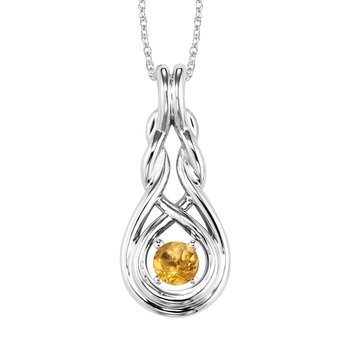 Silver Citrine Pendant  ( Available in All Birthstone )