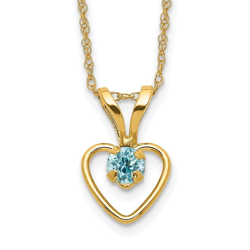 Quality Gold 14k Madi K 3mm Blue Zircon Heart Birthstone Necklace