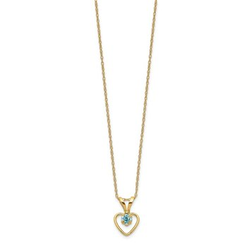 14k Madi K 3mm Blue Zircon Heart Birthstone Necklace