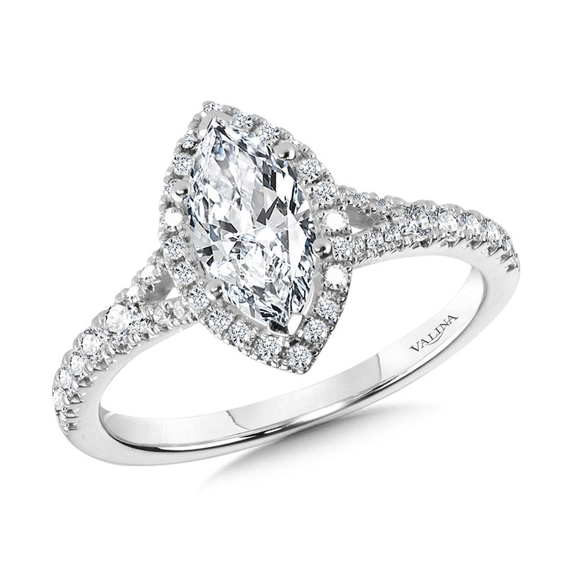 Valina Marquise-Shaped Split Shank Halo Engagement Ring