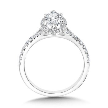 Marquise-Shaped Split Shank Halo Engagement Ring