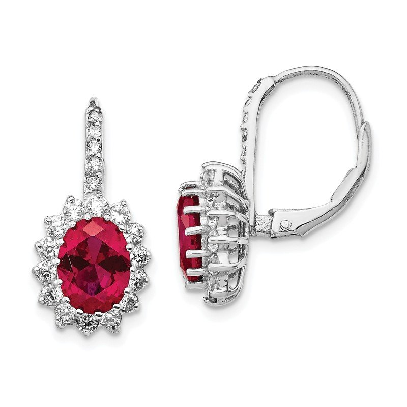 Sparkling Jewels Collection Cheryl M Sterling Silver Rhod-plated Created Ruby & CZ Leverback Earrings