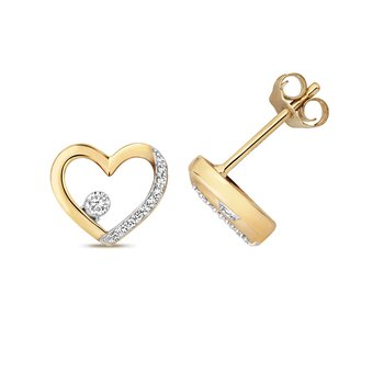 Diamond Heart Shape Studs