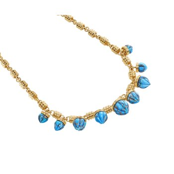 LuvMyJewelry Sunshine Twist Turquoise Necklace in Sterling Silver & 14 KT Yellow Gold Plating