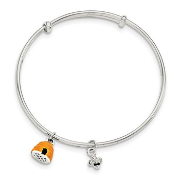 Sterling Silver Yellow & Black Enamel Bee and Beehive Kid's Bangle