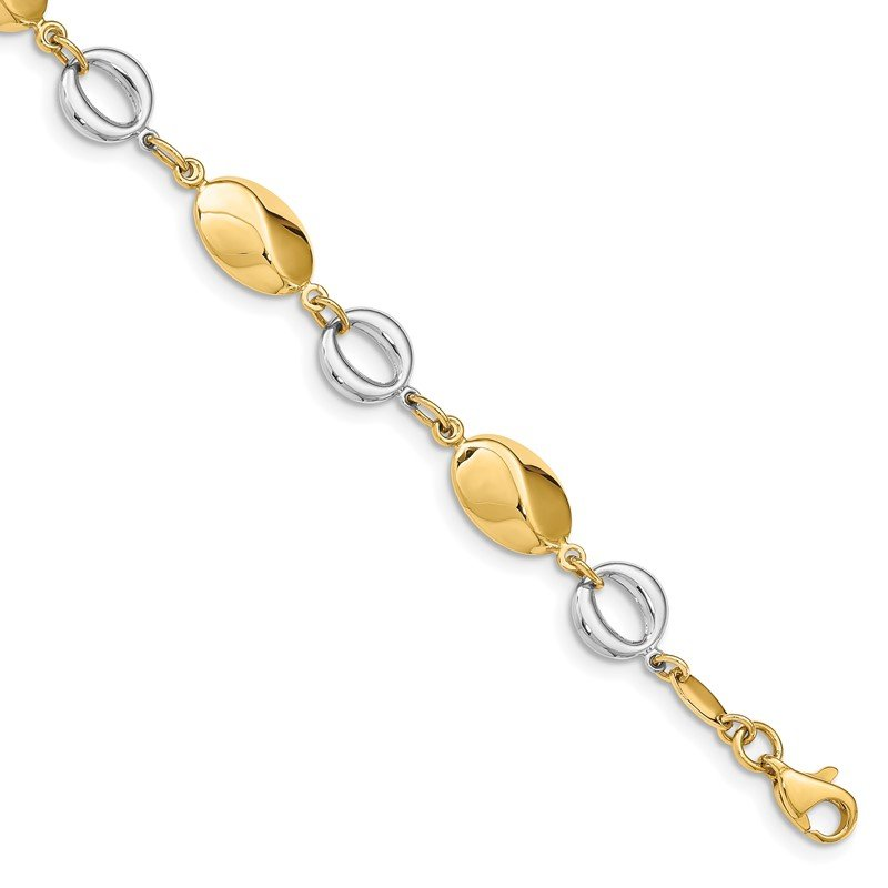 Quality Gold 14k Two-tone Polished Fancy Ovals & Circles Bracelet