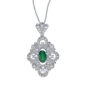 14k White Gold Emerald and .08 ct Diamond Pendant