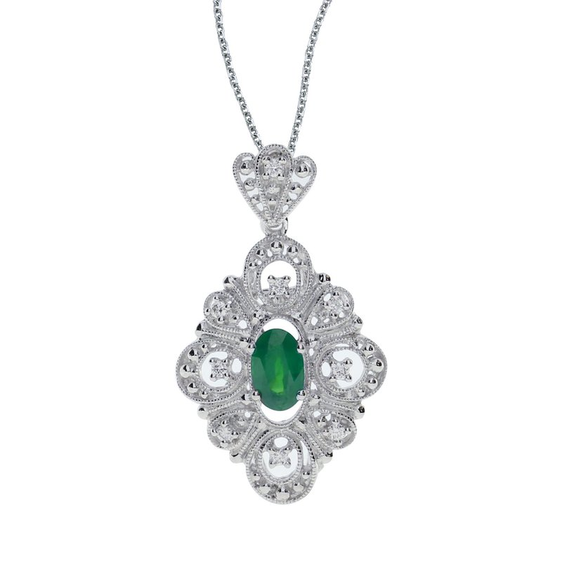 Color Merchants 14k White Gold Emerald and .08 ct Diamond Pendant