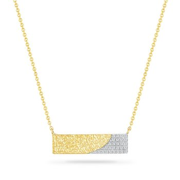 14K BAR NECKLACE WITH 28 DIAMONDS 0.093CT HAMMERED FINISH18 INCHES