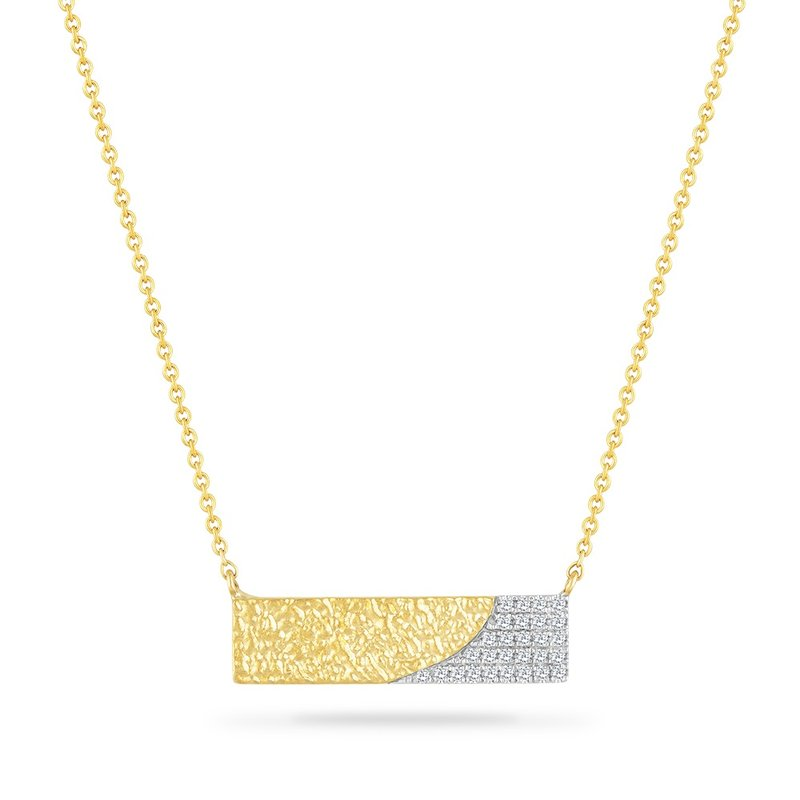 Shula NY 14K BAR NECKLACE WITH 28 DIAMONDS 0.093CT HAMMERED FINISH18 INCHES