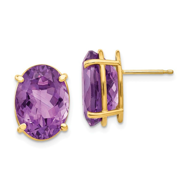 Quality Gold 14k 14x10mm Oval Amethyst Earrings