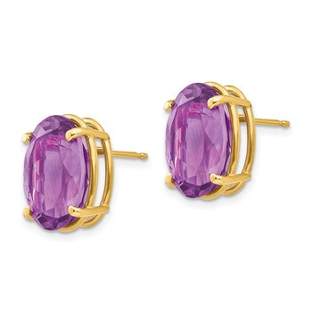 14k 14x10mm Oval Amethyst Earrings