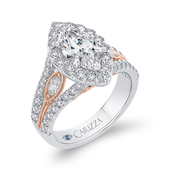 18K Two-Tone Gold Marquise Diamond Halo Engagement Ring with Split Shank (Semi-Mount)