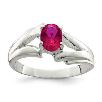 Sterling Silver Red Oval CZ Ring