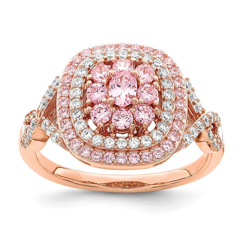Quality Gold Sterling Silver Rose-plated Pink and White CZ Cushion Ring