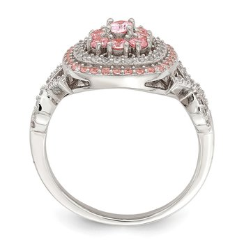 Sterling Silver Rose-plated Pink and White CZ Cushion Ring