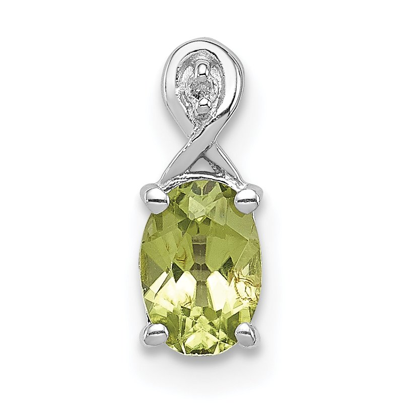 Quality Gold Sterling Silver Rhodium Plated Diamond & Peridot Oval Pendant