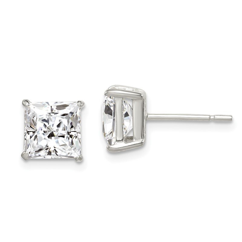 Quality Gold Sterling Silver Polished 7mm Princess CZ Post Earrings