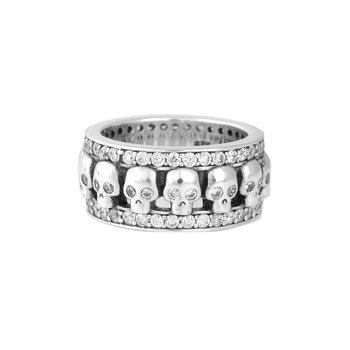 Wide Band Ring W/ Skulls And Cz
