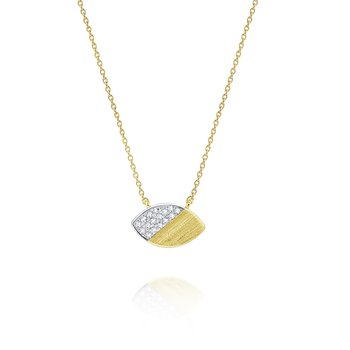 14 Kt. Brushed Gold & Diamond Marquise Pendant Necklace