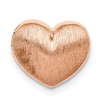 Sterling Silver Rose Gold-plated Scratch Finish Heart Chain Slide